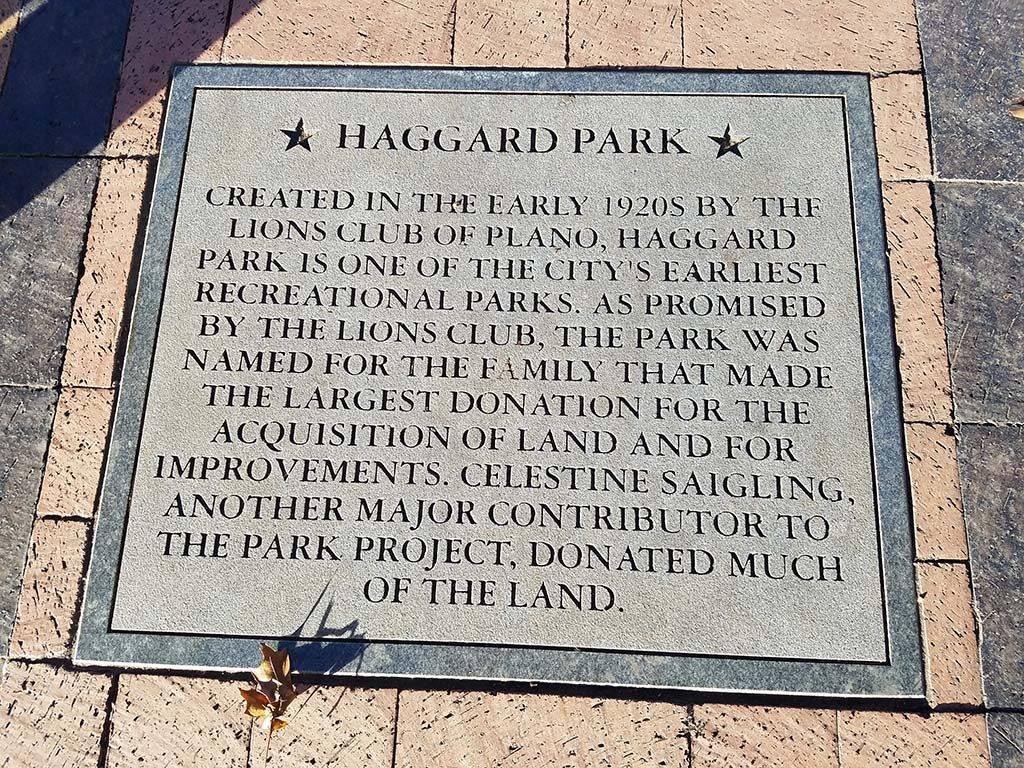 Haggard Park Lions Dedication Plaque